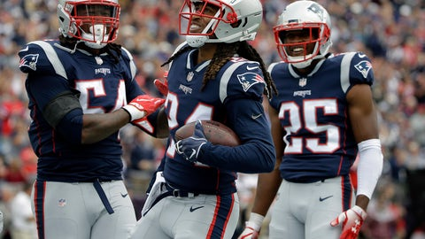 <p>               New England Patriots defensive back Stephon Gilmore, center, celebrates his interception with Dont'a Hightower, left, and Eric Rowe, right, during the first half of an NFL football game against the Houston Texans, Sunday, Sept. 9, 2018, in Foxborough, Mass. (AP Photo/Steven Senne)             </p>