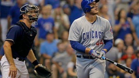 <p>               Chicago Cubs' Anthony Rizzo, right, watches the ball after hitting a two-run home run during the eighth inning of a baseball game against the Milwaukee Brewers Monday, Sept. 3, 2018, in Milwaukee. (AP Photo/Aaron Gash)             </p>