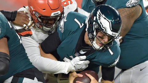 <p>               Cleveland Browns defensive tackle Caleb Brantley (99) sacks Philadelphia Eagles quarterback Nate Sudfeld (7) during the second half of an NFL preseason football game Thursday, Aug. 23, 2018, in Cleveland. (AP Photo/David Richard)             </p>
