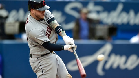 <p>               Cleveland Indians' Roberto Perez (55) hits a three-run double during the fifth inning  of a baseball game against the Toronto Blue Jays in Toronto, Saturday, Sept. 8, 2018. (Frank Gunn/The Canadian Press via AP)             </p>