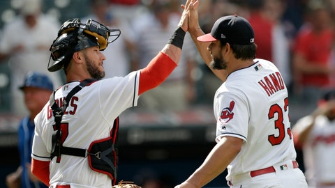 <p>               Cleveland Indians catcher Yan Gomes, left, celebrates with relief pitcher Brad Hand after the Indians defeated the Kansas City Royals 3-1 in a baseball game, Wednesday, Sept. 5, 2018, in Cleveland. (AP Photo/Tony Dejak)             </p>