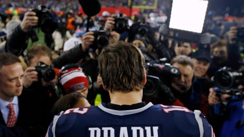 <p>               FILE - In this Jan. 21, 2018, file photo, New England Patriots quarterback Tom Brady talks with a reporter after the AFC Championship NFL football game against the Jacksonville Jaguars at Gillette Stadium in Foxborough, Mass. If there's ever going to be a changing of the guard in the AFC, then Sunday's visit to Jacksonville by the Patriots would seem a perfect time. Except when you look at the numbers that say Tom Brady doesn't lose to the Jaguars. Ever. (AP Photo/Winslow Townson, File)             </p>