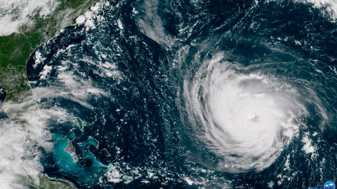 <p>               This GOES East satellite image taken Tuesday, Sept. 11, 2018, at 10:30 a.m. EDT, and provided by NOAA shows Hurricane Florence in the Atlantic Ocean as it threatens the U.S. East Coast, including Florida, Georgia, South and North Carolina. Millions of Americans are preparing for what could be one of the most catastrophic hurricanes to hit the Eastern Seaboard in decades. Mandatory evacuations begin at noon Tuesday, for parts of the Carolinas and Virginia (NOAA via AP)             </p>