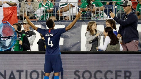 <p>               United States midfielder Tyler Adams (4) celebrates after scoring a goal against Mexico during an international friendly match Tuesday, Sept. 11, 2018, in Nashville, Tenn. The United States won 1-0. (AP Photo/Mark Humphrey)             </p>