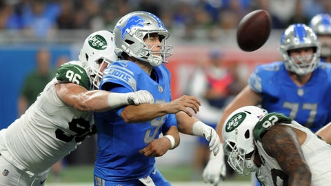 <p>               New York Jets defensive end Henry Anderson (96) hits Detroit Lions quarterback Matthew Stafford's (9) arm as he throws during the second half of an NFL football game in Detroit, Monday, Sept. 10, 2018. (AP Photo/Jose Juarez)             </p>