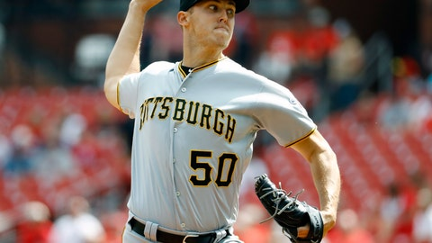 <p>               Pittsburgh Pirates starting pitcher Jameson Taillon throws during the first inning of a baseball game against the St. Louis Cardinals Wednesday, Sept. 12, 2018, in St. Louis. (AP Photo/Billy Hurst)             </p>