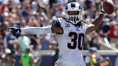 <p>               Los Angeles Rams running back Todd Gurley celebrates after scoring during the first half of an NFL football game against the Arizona Cardinals Sunday, Sept. 16, 2018, in Los Angeles. (AP Photo/Marcio Jose Sanchez)             </p>