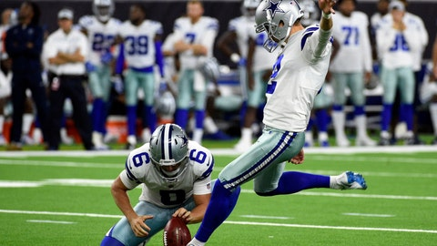 <p>               FILE - In this Aug. 30, 2018, file photo, Dallas Cowboys' Brett Maher (2) kicks a field goal as teammate Chris Jones (6) holds during the second half of a preseason NFL football game in Houston. Maher is a 28-year-old training camp journeyman with four years of CFL experience, (AP Photo/Eric Christian Smith, File)             </p>