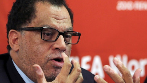 <p>               FILE - In this Friday Jan. 18, 2013 file photo, South African sports administrator Danny Jordaan, speaks during the 2010 FIFA World Cup Legacy Trust media conference in Johannesburg, South Africa. Danny Jordaan, a South African official linked to the alleged bribery of corrupt FIFA executives, has been cleared in an ethics check to stand for the Sept. 30, 2018 election to the world soccer body's ruling council. (AP Photo/Themba Hadebe, file)             </p>