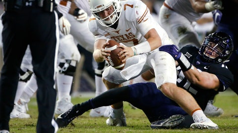 <p>               FILE - In this Nov. 4, 2017, file photo, Texas quarterback Shane Buechele (7) is sacked by TCU linebacker Ty Summers (42) during the second half of an NCAA college football game, in Fort Worth, Texas. Summers was an all-district dual-threat quarterback in high school. Since he started playing for No. 15 TCU, Summers has been on the other side chasing quarterbacks and making tackles all over the field.  (AP Photo/Ron Jenkins, File)             </p>