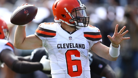 <p>               Cleveland Browns quarterback Baker Mayfield (6) passes against the Oakland Raiders during the first half of an NFL football game in Oakland, Calif., Sunday, Sept. 30, 2018. (AP Photo/Ben Margot)             </p>