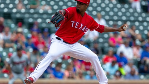 <p>               Texas Rangers starting pitcher Yohander Mendez delivers during the first inning of a baseball game against the Minnesota Twins, Sunday, Sept. 2, 2018, in Arlington, Texas. (AP Photo/Sam Hodde)             </p>