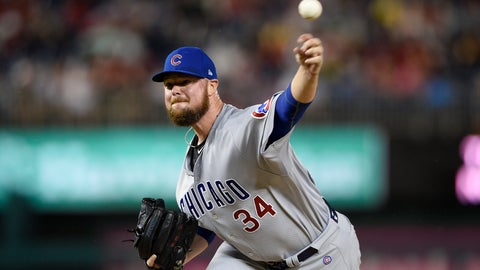 <p>               Chicago Cubs starting pitcher Jon Lester delivers a pitch during the first inning of the team's baseball game against the Washington Nationals, Friday, Sept. 7, 2018, in Washington. (AP Photo/Nick Wass)             </p>