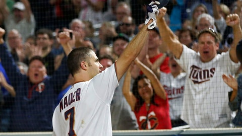 <p>               Minnesota Twins' Joe Mauer doffs his helmet after a curtain call following his his grand slam off New York Yankees pitcher Tommy Kahnle in the fifth inning of a baseball game Tuesday, Sept. 11, 2018, in Minneapolis. (AP Photo/Jim Mone)             </p>