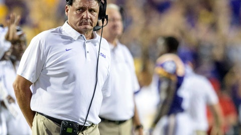 <p>               FILE - In this Sept. 30, 2017, file photo, LSU head coach Ed Orgeron stands on the sidelines in the second half of an NCAA college football game against Troy in Baton Rouge, La. Orgeron needs to look back no farther than last season for lessons about why the sixth-ranked Tigers should take Louisiana Tech seriously Saturday. Mid-major foe Troy invaded Death Valley and celebrated a signature victory in 2017. (AP Photo/Matthew Hinton, File)             </p>