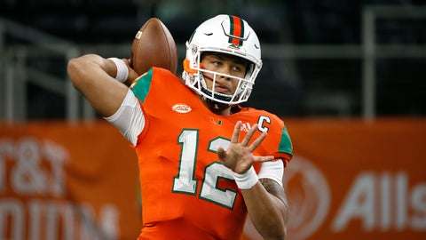<p>               Miami quarterback Malik Rosier (12) throws during warm ups before playing LSU in an NCAA college football game Sunday, Sept. 2, 2018, in Arlington, Texas. (AP Photo/Ron Jenkins)             </p>