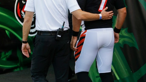 <p>               Cincinnati Bengals quarterback Matt Barkley (7) is helped off the field after an injury during the first half of the team's NFL preseason football game against the Indianapolis Colts, Thursday, Aug. 30, 2018, in Cincinnati. (AP Photo/Frank Victores)             </p>