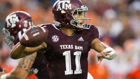 <p>               FILE - In this Sept. 8, 2018, file photo, Texas A&M quarterback Kellen Mond (11) passes down field against Clemson during the first half of an NCAA college football game, in College Station, Texas. Mond turned heads by throwing for a career-high 430 yards as the Aggies came just short of knocking off Clemson last week. (AP Photo/Sam Craft, File)             </p>