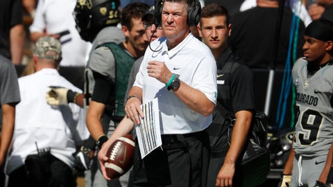 <p>               Colorado head coach Mike MacIntyre looks on in the first half of an NCAA college football game against New Hampshire, Saturday, Sept. 15, 2018, in Boulder, Colo. (AP Photo/David Zalubowski)             </p>