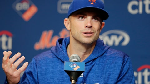 <p>               New York Mets third baseman David Wright speak during a news conference before a baseball game against the Miami Marlins, Thursday, Sept. 13, 2018, in New York. (AP Photo/Frank Franklin II)             </p>