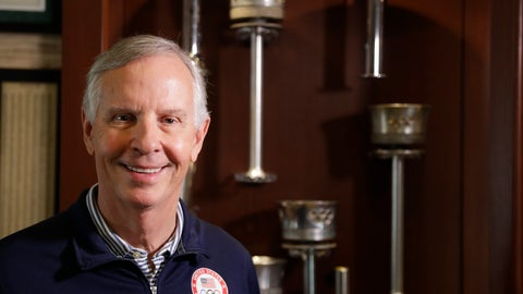 <p>               In this Tuesday, Aug. 14, 2018 photo, Gordy Crawford poses at his home with some of his Olympic torches in La Canada Flintridge, Calif. Parts of the collection will eventually go on display at the U.S. Olympic Museum, now under construction in Colorado Springs and expected to open in 2020. (AP Photo/Chris Carlson)             </p>