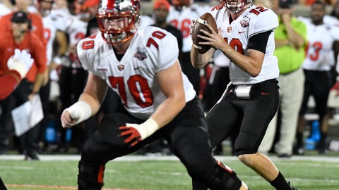 <p>               Western Kentucky quarterback Davis Shanley (12) looks for an open receiver during the first half of an NCAA college football game against Louisville, Saturday, Sept. 15, 2018, in Louisville, Ky. (AP Photo/Timothy D. Easley)             </p>