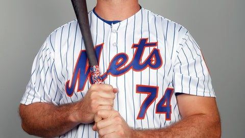 """<p>               This is a 2018 photo of Peter Alonso of the New York Mets baseball team. This image reflects the Mets active roster as of Feb. 21, 2018 when this image was taken. Alonso finally put on a uniform at Citi Field on Wednesday, Sept. 12, 2018. Just not as part of New York's active roster. Alonso was honored on the field as the Mets' minor league player of the year about two weeks after New York frustrated its fans by declining to promote him to the major leagues. Alonso says he was """"disappointed"""" to be kept off the major league roster, but he's using the decision as motivation for his offseason. (AP Photo/Jeff Roberson)             </p>"""