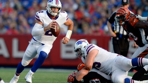 <p>               FILE - In this Aug. 26, 2018, file photo, Buffalo Bills quarterback Nathan Peterman runs with the ball during the second half of a preseason NFL football game against the Cincinnati Bengals in Orchard Park, N.Y. Bills quarterback Nathan Peterman will make his third career start Sunday, against the Baltimore Ravens, hoping to improve on a dismal 38.4 career QB rating.(AP Photo/Adrian Kraus, File)             </p>