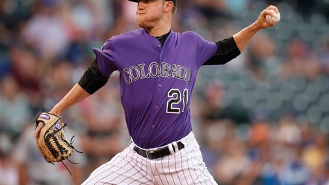 <p>               Colorado Rockies starting pitcher Kyle Freeland works against the Los Angeles Dodgers in the first inning of a baseball game Saturday, Sept. 8, 2018, in Denver. (AP Photo/David Zalubowski)             </p>