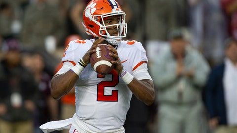 <p>               Clemson quarterback Kelly Bryant (2) looks to pass against Texas A&M during the first quarter of an NCAA college football game Saturday, Sept. 8, 2018, in College Station, Texas. (AP Photo/Sam Craft)             </p>