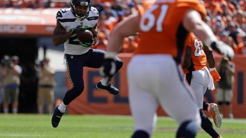 <p>               Seattle Seahawks safety Earl Thomas intercepts a pass during the first half of an NFL football game against the Denver Broncos Sunday, Sept. 9, 2018, in Denver. (AP Photo/Jack Dempsey)             </p>