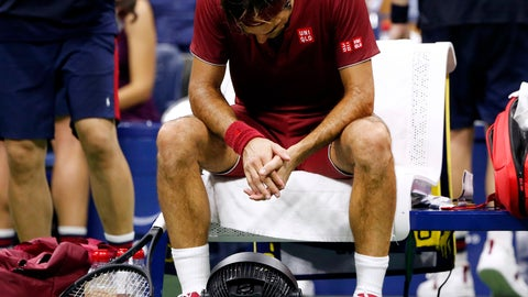 <p>               FILE - In this early Tuesday, Sept. 4, 2018, file photo, Roger Federer, of Switzerland, sits in front of a fan during a changeover in his match against John Millman, of Australia, during the fourth round of the U.S. Open tennis tournament, in New York. It's not just the heat, it's the humidity at this most uncomfortable of U.S. Opens. Don't sweat the small stuff? Try telling that to Roger Federer, Rafael Nadal, Novak Djokovic and other players who've been dripping and drenched at the year's last Grand Slam tournament. (AP Photo/Jason DeCrow, File)             </p>