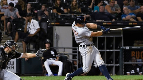 <p>               Detroit Tigers' Mikie Mahtook hits a two-run home run against the Chicago White Sox during the eighth inning of a baseball game Tuesday, Sept. 4, 2018, in Chicago. (AP Photo/David Banks)             </p>