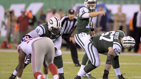 "<p>               FILE - In this Aug. 24, 2018, file photo, New York Jets quarterback Sam Darnold (14) calls an audible at the line of scrimmage during the team's NFL football game against the New York Giants in East Rutherford, N.J.  When the Jets' starting line--left tackle Kelvin Beachum, left guard James Carpenter, center Spencer Long, right guard Brian Winters and right tackle Brandon Shell-- trots onto the field in noisy Ford Field, it'll mark the first time all five will be together for a snap in a game. ""I'm very optimistic,"" offensive line coach Rick Dennison said. ""I think they've worked hard and done a good job. Obviously, it's the start of the regular season and there's a little bit of the unknown, but I feel good about the guys."" (AP Photo/Bill Kostroun, File)             </p>"