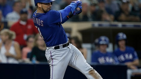 <p>               Texas Rangers' Robinson Chirinos hits a three-run double against the San Diego Padres during the sixth inning of a baseball game in San Diego, Saturday, Sept. 15, 2018. (AP Photo/Alex Gallardo)             </p>