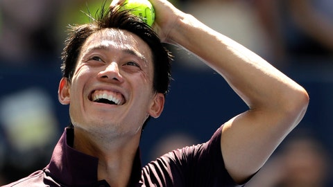 <p>               Kei Nishikori, of Japan, smiles after defeating Philipp Kohlschreiber, of Germany, during the fourth round of the U.S. Open tennis tournament, Monday, Sept. 3, 2018, in New York. (AP Photo/Kevin Hagen)             </p>