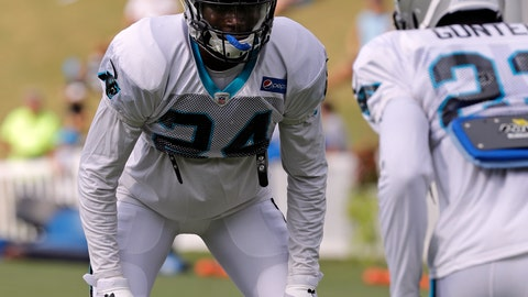 <p>               FILE - In this July 30, 2018, file photo, Carolina Panthers' James Bradberry (24) runs a drill during NFL football practice at the team's training camp in Spartanburg, S.C. Bradberry has set his sights on becoming an All-Pro cornerback this season (AP Photo/Chuck Burton File)             </p>