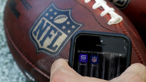 <p>               In this Thursday, Aug. 30, 2018, photo apps for NFL and Yahoo Sports are displayed on a phone on the sidelines before a preseason NFL football game between the Philadelphia Eagles and the New York Jets in Philadelphia. As the regular season starts Thursday, Sept. 6, the league is finally dropping a requirement that viewers sign in with a cable or satellite subscription, as it seeks to expand its online audience at a time when TV ratings are declining. The subscription-free games will be available on the NFL app and the Verizon-owned Yahoo Sports, Tumblr and AOL apps.  (AP Photo/Matt Rourke)             </p>