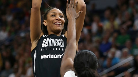 <p>               In this July 28, 2018, file photo, Team Delle Donne's A'ja Wilson, left, shoots the ball against the Team Candace Parker's Chiney Ogwumike, right, during the first half of the WNBA All-Star basketball game in Minneapolis. (AP Photo/Stacy Bengs, File)             </p>