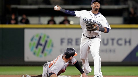 <p>               Seattle Mariners shortstop Jean Segura, right, throws to first base after forcing out Baltimore Orioles' Joey Rickard at second base in the eighth inning of a baseball game Monday, Sept. 3, 2018, in Seattle. Segura completed the double play at first, throwing out Orioles' Caleb Joseph. (AP Photo/Elaine Thompson)             </p>