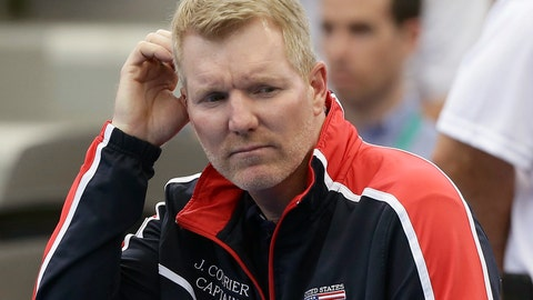 "<p>               FILE - In this April 7, 2017, file photo, U.S. captain Jim Courier reacts during a Davis Cup world group quarterfinal tennis match between Australia's Jordan Thompson and Jack Sock, of the U.S., in Brisbane, Australia. The U.S. Tennis Association announced Thursday, Sept. 27, 2018, that Courier is ""stepping down,"" after eight years in the job and less than two weeks after the Americans lost to host Croatia 3-2 in the Davis Cup semifinals. (AP Photo/Tertius Pickard, File)             </p>"