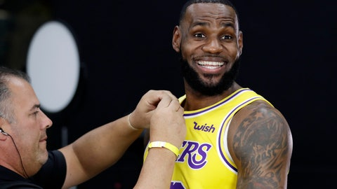<p>               Los Angeles Lakers' LeBron James smiles as a microphone is placed on his chest during media day at the NBA basketball team's practice facility Monday, Sept. 24, 2018, in El Segundo, Calif. (AP Photo/Marcio Jose Sanchez)             </p>