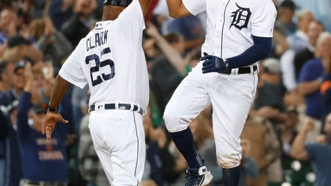 <p>               Detroit Tigers' Jeimer Candelario celebrates hitting a two-run walk-off home run with third base coach Dave Clark (25) during the ninth inning of a baseball game against the St. Louis Cardinals in Detroit, Friday, Sept. 7, 2018. Detroit won 5-3. (AP Photo/Paul Sancya)             </p>