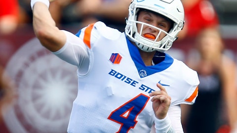 <p>               Boise State quarterback Brett Rypien (4) throws a pass during the first half of an NCAA college football game against Troy, Saturday, Sept. 1, 2018, in Troy, Ala. (AP Photo/Butch Dill)             </p>