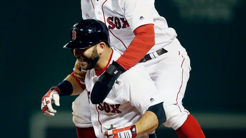 <p>               Boston Red Sox's Mitch Moreland, bottom, celebrates his game-winning RBI single with Xander Bogaerts during the ninth inning of a baseball game against the Houston Astros in Boston, Sunday, Sept. 9, 2018. (AP Photo/Michael Dwyer)             </p>