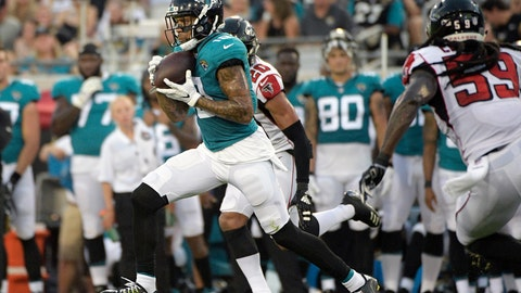 <p>               FILE - In this Aug. 25, 2018, file photo, Jacksonville Jaguars wide receiver Donte Moncrief (10) runs after catching a pass between Atlanta Falcons cornerback Isaiah Oliver (20) and linebacker De'Vondre Campbell (59) during the first half of an NFL preseason football game, in Jacksonville, Fla. Moncrief might be Jacksonville's go-to receiver heading into the season opener at the New York Giants. Moncrief certainly is the unwitting leader of that position group and will be counted on to fill a void created when Marqise Lee hurt his left knee in the preseason and was placed on injured reserve. (AP Photo/Phelan M. Ebenhack, File)             </p>