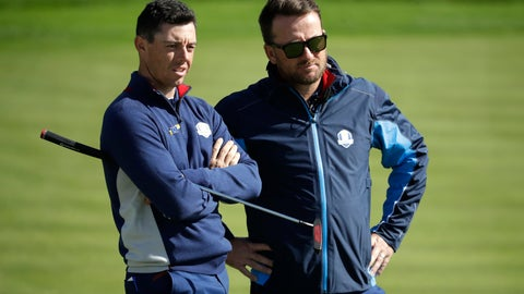 <p>               Europe's Rory McIlroy, left, and Europe team vice-captain Graeme McDowell chat as they stand on the 16th green during a practice round at Le Golf National in Saint-Quentin-en-Yvelines, outside Paris, France, Tuesday, Sept. 25, 2018. The 42nd Ryder Cup will be held in France from Sept. 28-30, 2018 at Le Golf National. (AP Photo/Matt Dunham)             </p>