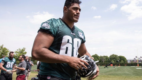 <p>               In this May 11, 2018, file photo, Philadelphia Eagles offensive lineman Jordan Mailata, of Australia, heads off the field after an NFL football rookie minicamp at the team's training facility in Philadelphia. Mailata has made the cut for the Super Bowl champion Eagles' 53-man roster less than a year after first putting on a helmet and is ready to kick off the NFL season. (AP Photo/Chris Szagola, File)             </p>