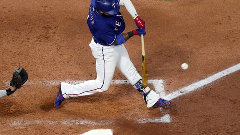 <p>               Texas Rangers' Elvis Andrus (1) connects for a home run in the fourth inning in a baseball game against the Los Angeles Angels Tuesday, Sept. 4, 2018, in Arlington, Texas. (AP Photo/Richard W. Rodriguez)             </p>