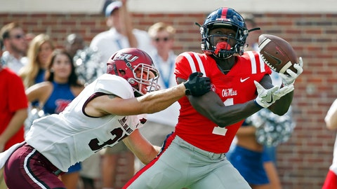<p>               Mississippi wide receiver A.J. Brown (1) hauls in a 38-yard touchdown pass reception while Southern Illinois safety Michael Elbert (37) attempts to break up the pass during the first half of their NCAA college football game on Saturday, Sept. 8, 2018, in Oxford, Miss. (AP Photo/Rogelio V. Solis)             </p>
